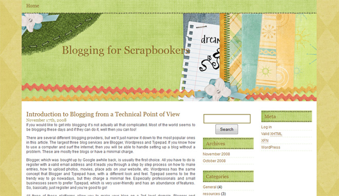 Green Scrapbooking WordPress Theme