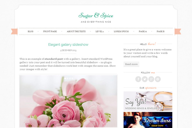 Sugar & Spice WordPress Theme